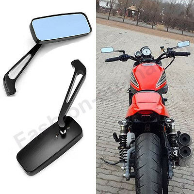 Black Rear View Mirrors Bike Motorcycle Streetfighter Left Right Thread 8Mm 10Mm