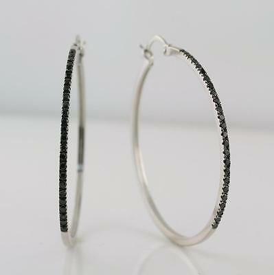 1.23 Carat Natural Black Diamond Large Hoop Earrings 14K Solid White Gold, New