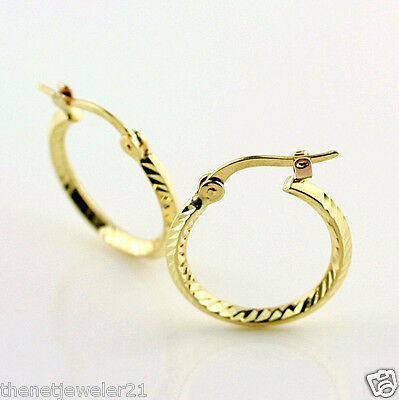 10k Solid Yellow Gold  Diamond-Cut Classic Pattern Small Hoop Earrings