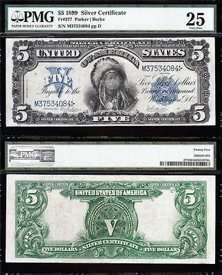 "VERY NICE Bold & Crisp VF 1899 $5 ""INDIAN CHIEF"" Silver Cert! PMG 25! M37534084"