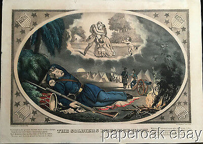 ORIGINAL 1860's Civil War Currier & Ives Soldiers Dream of Home Litho