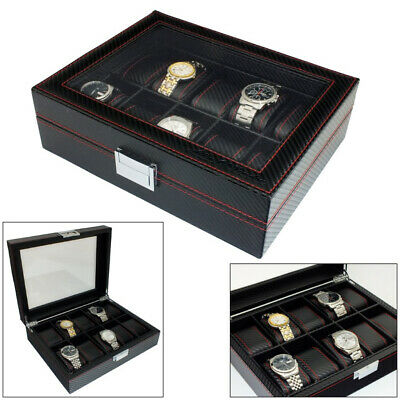 Astin Of London® Mens Carbon Fibre Effect Pu Leather 10 Watch Box Storage Case