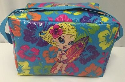 Lisa Frank Surfer Girl Cooler Lunch Box Blonde Tote Vinyl Tote Purse Hibiscus
