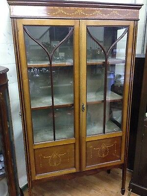 Edwardian Mahogany Display Cabinet with inlaid swags and bows