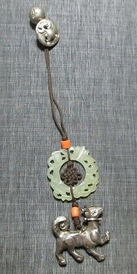 Vintage Chinese White Jade Carved Pendant w Metal Weasel Charm