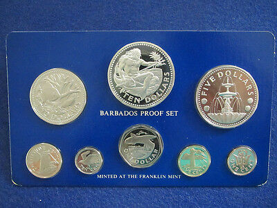 1975 Barbados 8 Coin Proof Set - Sealed with COA - Free U S Shipping