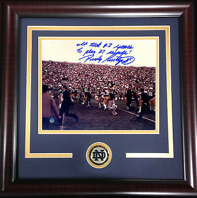 Rudy Ruettiger Signed 8x10 photo framed Notre Dame coin auto 27 seconds Steiner
