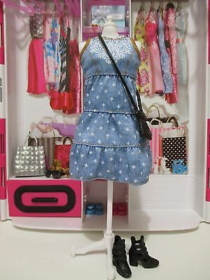 NEW BARBIE® FASHIONISTAS® DOLL - chambray OUTFIT ONLY dress purse & shoes set