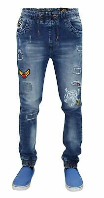 New Mens Juice Cuffed Fit Stretchable Cotton Ripped Denim Draw String Jeans