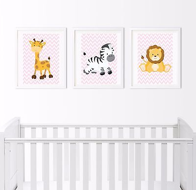 Set of 3 Nursery wall decor New Baby prints Safari Woodland childrens bedroom