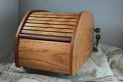 """""""THE BYTE BOX"""" Vintage computer accessory Wooden roll top storage box+ lock&key"""