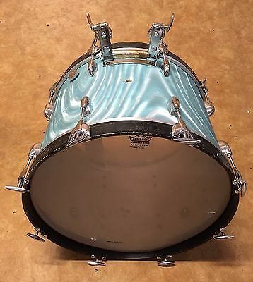 Vintage 1960's Gretsch 14x20 Bass Drum Aqua Satin Flame