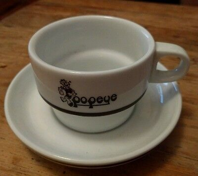 Vintage Popeye Ceramic Mug / Cup and saucer - Rare Collectable - George Germany