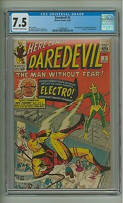 Daredevil #2 (CGC 7.5) OW/W pgs; 2nd app. Daredevil and Electro; Kirby (c#12937)