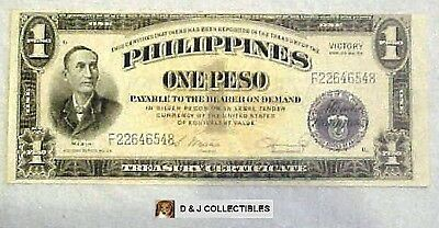 Philippines Japanese 1 Peso Victory Note Series No 66 Unc Condition