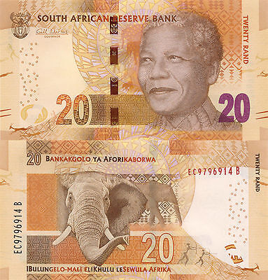 South Africa 20 Rand (2012) - Mandela/Elephant/p139 with Omron Circles UNC