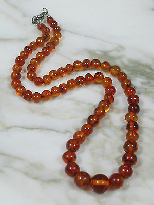 """Vintage Baltic Honey Amber Round Beaded Necklace 19 1/2"""" Long Total 16.8 Grams"""