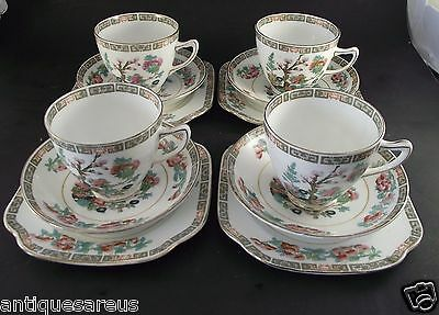 "Tea For 4   Trio's    Colclough China "" India Tree Like ""  Tea Cup Saucer Plate"