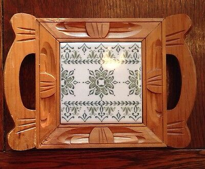 Mexican Tile With Carved Wood Trivet Handled, Green And White