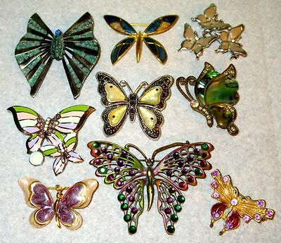 Butterfly Brooches, Gorgeous Vintage Rhinestone Enamel Lot of 9