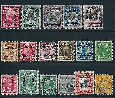 1906 - 1928 Canal Zone (17) MH & USED; MOSTLY OVERPRINTS; CV $72