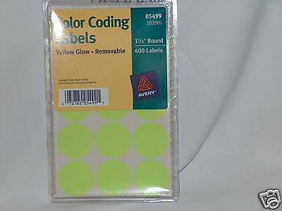 Avery 05499 Color Coding LabelsYellow Glow Removable Print or Write 400 count