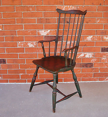 Very Fine Rare Green-Painted Fan-Back Windsor Armchair, Vermont, USA, Ca. 1790