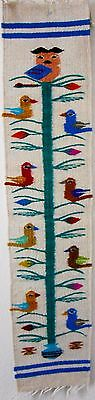 Zapotec wool hand woven 8½x40 inch White TREE OF LIFE wall or runner retail $98