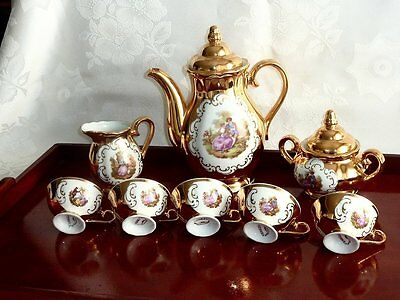 Magnificent Vintage Hand Painted 24 Carat Gold Bavarian Coffee Set For 4 C 1960'