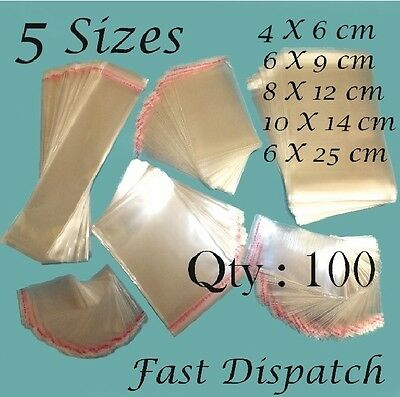 100 Clear Cello Cellophane Display bags Self Adhesive Peel & Seal 5 sizes
