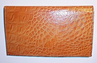 "Tan Leather Crocodile Print Checkbook Cover / Wallet - 6 3/4"" x 3 3/4"""