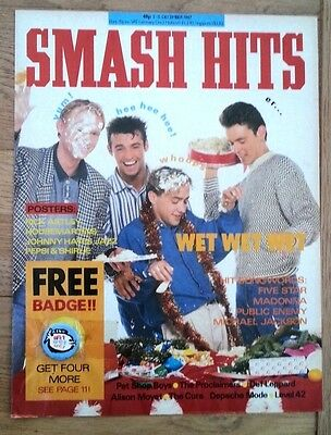 WET WET WET Smash Hits cover & badge 11x8 inches - NOT THE COMPLETE MAGAZINE!