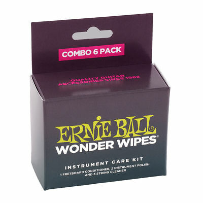 Ernie Ball 4279 Wonder Wipes Combo Pack, (6 pack).Complete Guitar Cleaning Kit.