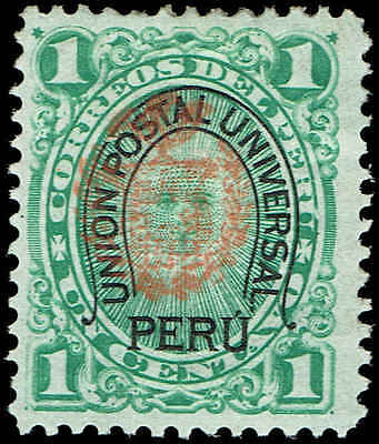 Scott # N19 - 1882 - ' Coat of Arms ' Chilean occupation, Additional ovpt in red