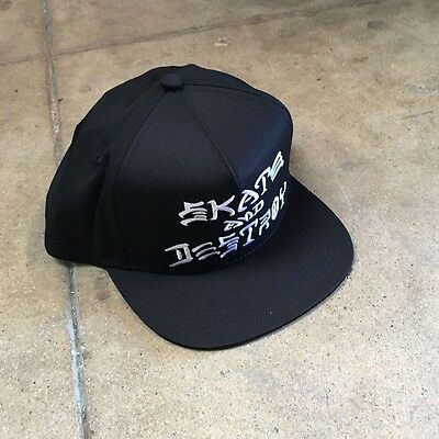 Thrasher Skate and Destroy Black Snapback Hat Punk Skate Santa Cruz Independent