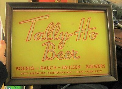 Vintage Tally Ho Beer Framed Reverse Glass Rog Sign City Brewing New York Ny