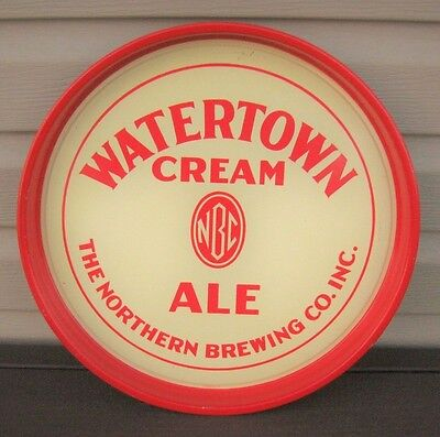 "Vintage Watertown Cream Ale 14"" Metal Tin Litho Beer Tray Northern Brewing Co Ny"