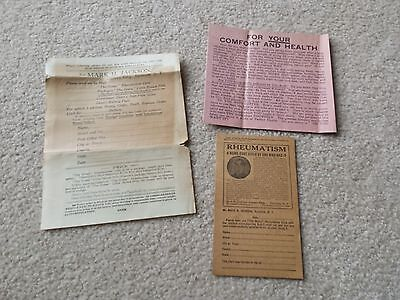 VINTAGE  Mark H Jackson Rheumatism Cure Medical Quackery STUFF