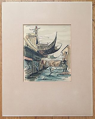 Vintage Chinese Original Ink And Watercolor Painting On Paper, Signed