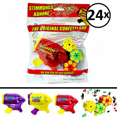 24 x Konfettipistole & 72 x 6 Schuss Konfetti Munition Party-Shooter Karneval