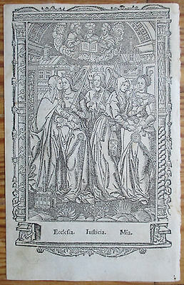 Book of Hours Leaf Hardouin Woodcut Border Miniature Ecclesia Justicia - 1510