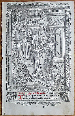 Book of Hours Leaf Hardouin Woodcut Miniature In principio erat verbum - 1510