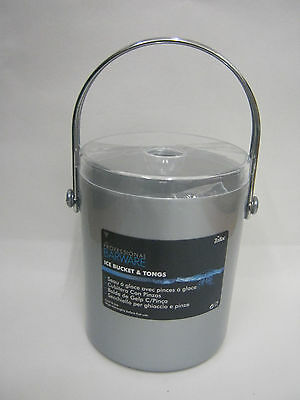 New Zodiac Barware Silver Plastic Ice Bucket And Tongs With Clear Lid 90189MAT