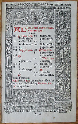 Book of Hours Leaf Hardouin Woodcut Border Calendar January February - 1510