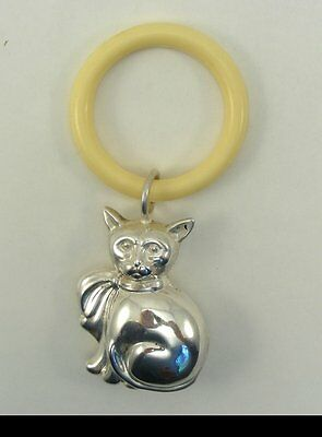 Vintage Silver-plated Baby's Rattle with Cat