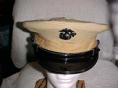 Vintage Usmc Used.jr. Officer Khaki Cloth Hat W/2 Extra Tops Size 7