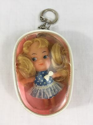 VTG Mid Century 1960's Mattel Liddle Kiddle Doll With Key Chain Purse Hong Kong