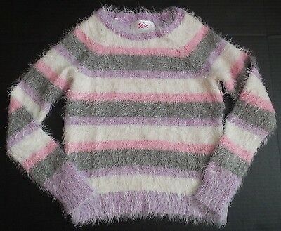 NEW Justice girls purple pink white striped long sleeve furry sweater size 5 / 7