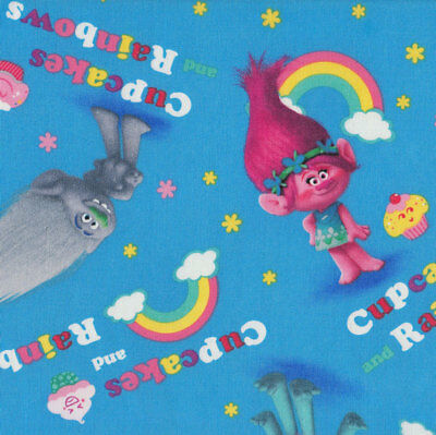 Trolls on Blue Cupcakes and Rainbows Girls Licensed Quilt Fabric *New*
