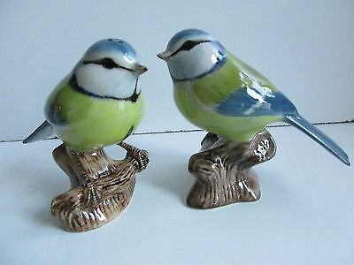 Blue Tit Birds Salt And Pepper Pots By Quail Pottery  Ideal Gift Boxed.
